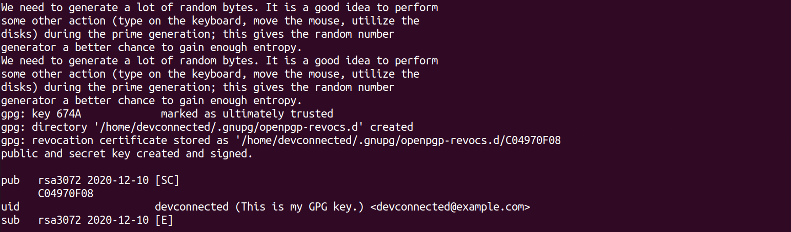 gpg key created