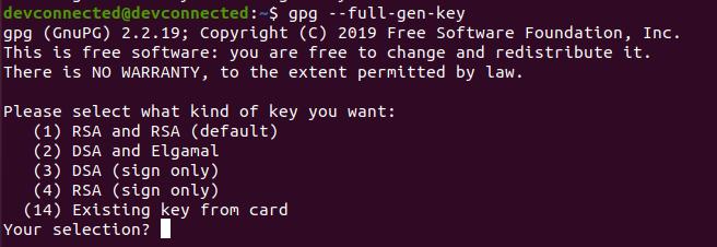 gpg generate key