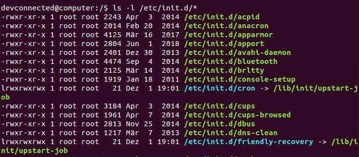 listing init scripts