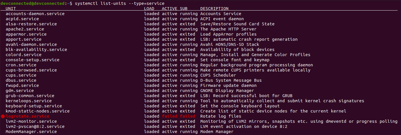 list active services on linux