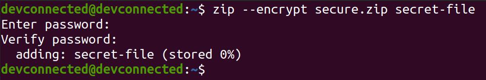 encrypt file using zip