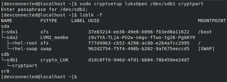 cryptsetup luksopen command