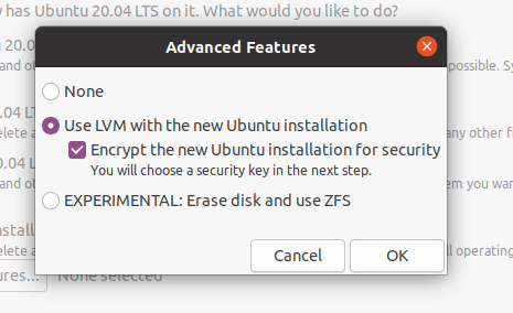 encrypting in the installation wizard