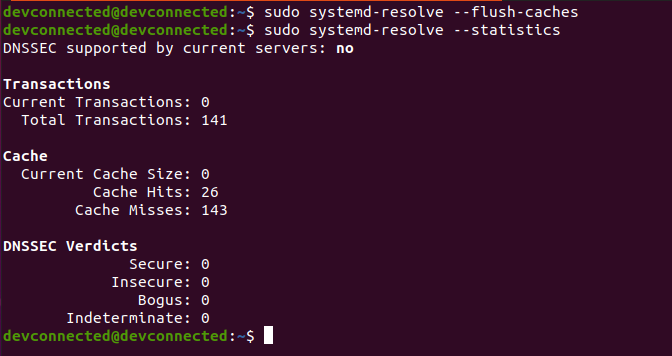 flush dns cache using systemd-resolve