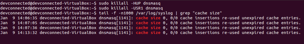 dnsmasq cache hup signal