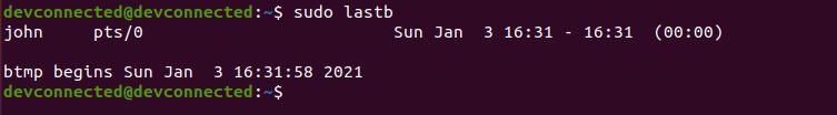 lastb command linux