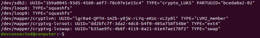 listing uuid drives on disk