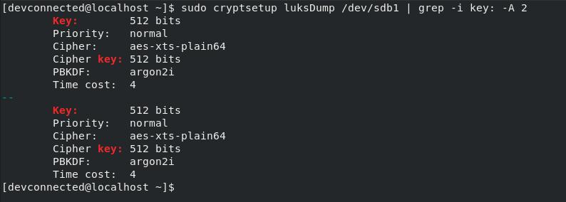 luks dump command