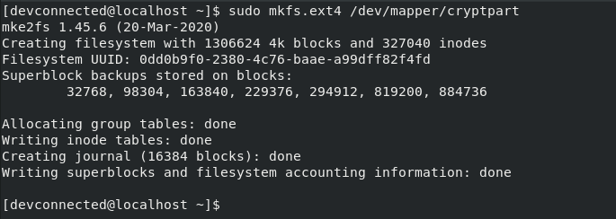 mkfs command on linux