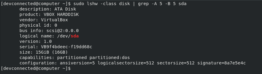 lshw on specific disk