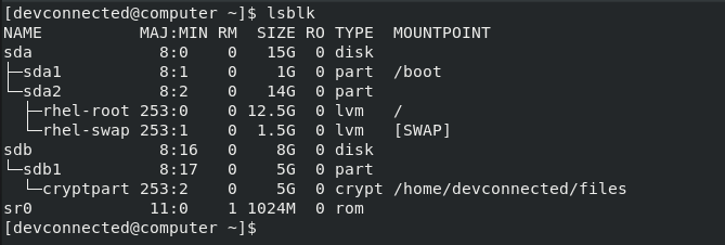 list disks using lsblk